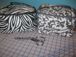 Large Personalized Cosmetic Bag-zebra cosmetic bag, gray damask cosmetic bag, personalized cosmetic bag.